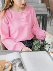 造型荷葉領綴珍珠純色上衣