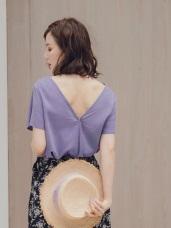 粉紫高棉交疊設計前後兩穿短袖上衣