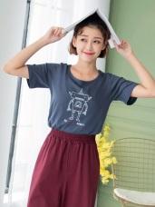 高含棉逗趣機器人印花T恤上衣