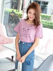 可愛貓咪字母燙印高含棉T恤/上衣