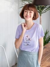 浪漫感字母花朵燙印高含棉T恤/上衣