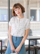 日系感櫻桃印花排釦開襟襯衫