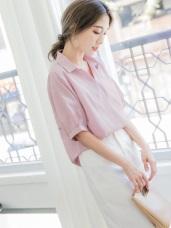 簡約質感素面開襟襯衫