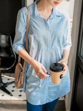 高含棉細直條紋五分袖襯衫
