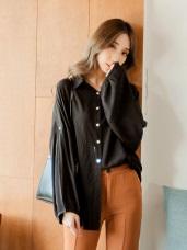 舒適柔軟澎袖排釦寬鬆襯衫