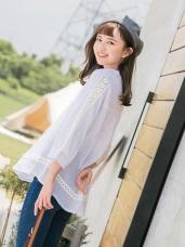 直條紋造型蕾絲拼接高棉開襟上衣