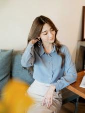 純色花瓣造型雪紡長袖襯衫