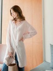 直條紋排釦長版襯衫/罩衫