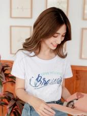 高含棉蕾絲英文字T恤上衣