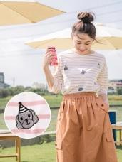 親子系列~可愛狗狗刺繡高含棉條紋上衣