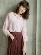 純色胸前壓褶半開襟襯衫