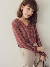 配色直條紋袖口綁帶前短後長半開襟襯衫