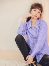 配色直條紋襯衫