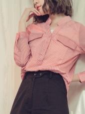 配色條紋假兩件式半開襟襯衫