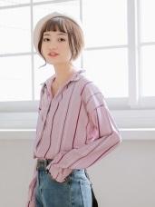 造型感直條紋印花襯衫
