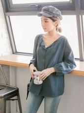 高含棉小開襟排釦簡約上衣