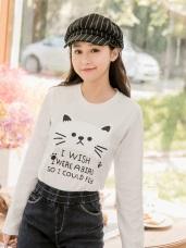 台灣製造.可愛貓咪字母燙印高棉上衣