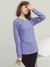 配色直條紋綁帶設計袖口反褶長袖上衣