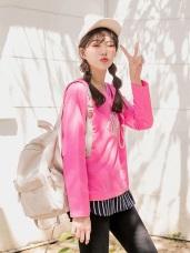 蕾絲花朵拼接直條紋高棉假兩件上衣