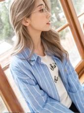領片刺繡俏麗印花條紋襯衫