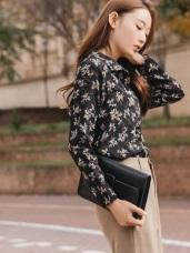 氣質印花花型排釦厚雪紡襯衫