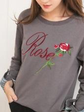 玫瑰刺繡英文反褶條紋袖上衣
