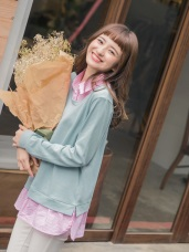 直條紋襯衫拼接純色高棉假兩件上衣
