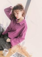 粉色系素面小褶設計襯衫