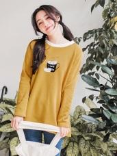 台灣製造.可愛貓咪馬克杯燙印內刷毛長版上衣