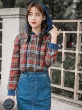 格紋面磨毛排釦高棉連帽抽繩上衣