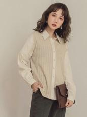 純色異材質拼接仿針織襯衫