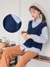 格紋襯衫拼接仿兔毛背心假兩件式上衣