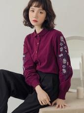 高含棉刺繡設計磨毛襯衫