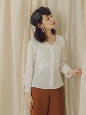 純色高含棉變化布紋排釦上衣/襯衫