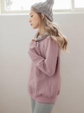 帽內刷毛拼接織紋上衣