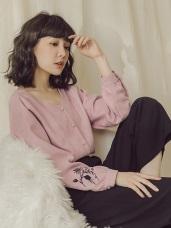 純色磨毛袖口刺繡排釦上衣/襯衫