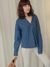高含棉半開襟寬鬆單寧上衣