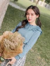 兩穿式鏤空蕾絲雕花拼接純色上衣