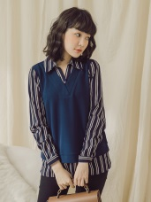純色拼接假兩件式直條紋襯衫