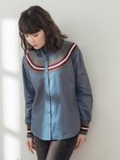 純色拼接條紋針織襯衫