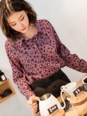 時髦流行豹紋印厚雪紡襯衫
