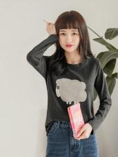 台灣製造.可愛小羊燙印面磨毛上衣