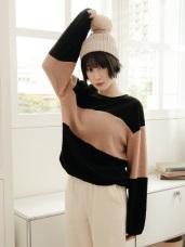 毛絨絨下襬伸縮設計條紋上衣