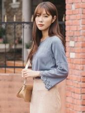 麂皮手感袖口燒花設計純色上衣