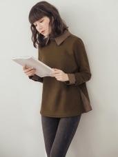 襯衫拼接假兩件式內刷毛衛衣上衣