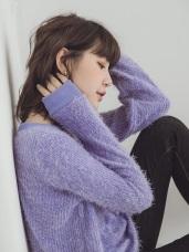 純色長毛仿針織毛衣