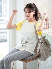 親子系列~高含棉閉眼小兔子燙印圖拼色袖T恤/上衣