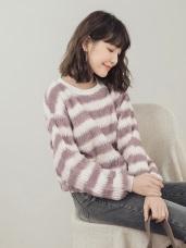柔軟配色條紋長毛毛衣