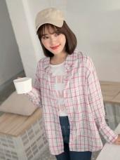 高含棉格紋排釦長袖襯衫上衣