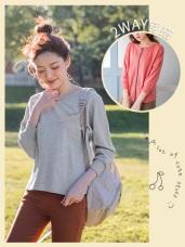 兩穿式拉鍊設計寬版連袖純色罩衫/上衣